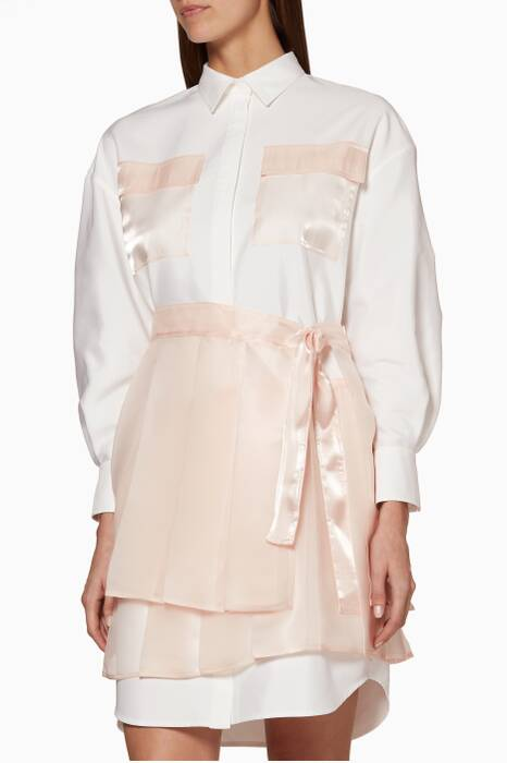 White & Light-Pink Long-Sleeve Shirtdress