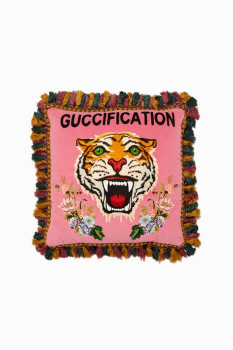 Pink Velvet Tiger Guccification Cushion