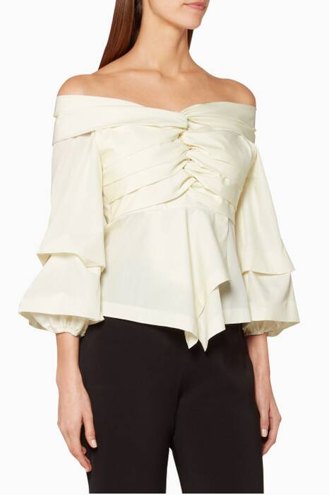 Cream Draped Off-The-Shoulder Top