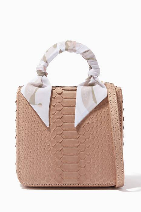 Beige Python Square F Baby Top Handle Bag