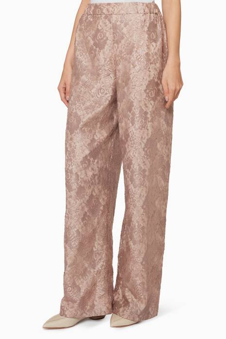 Dust-Pink Wide-Leg Pants