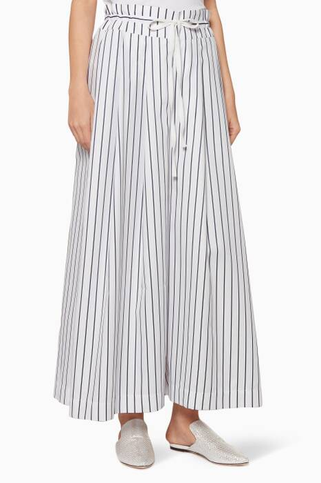 White Pleated Drawstring Pants