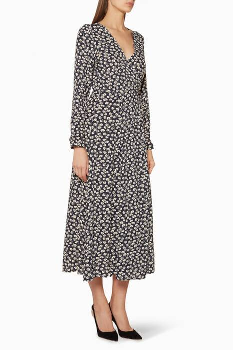 Navy Floral Print Roseburg Wrap Dress