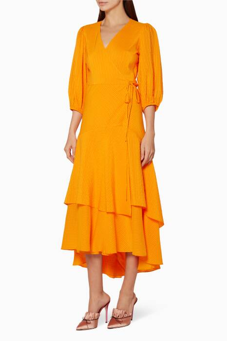 Orange Wilkie Wrap Dress