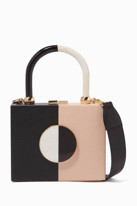 Light-Pink & Black Otto Top-Handle Bag