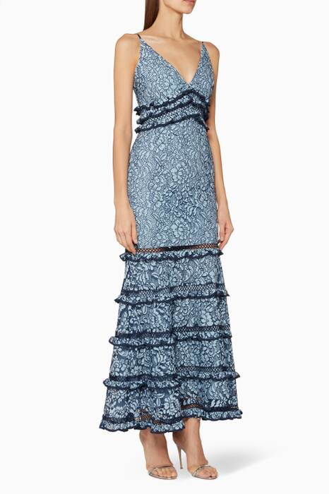 Blue Catch Me Lace Gown