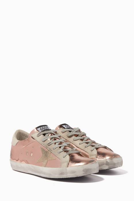 Light-Pink Mirrored Superstar Sneakers