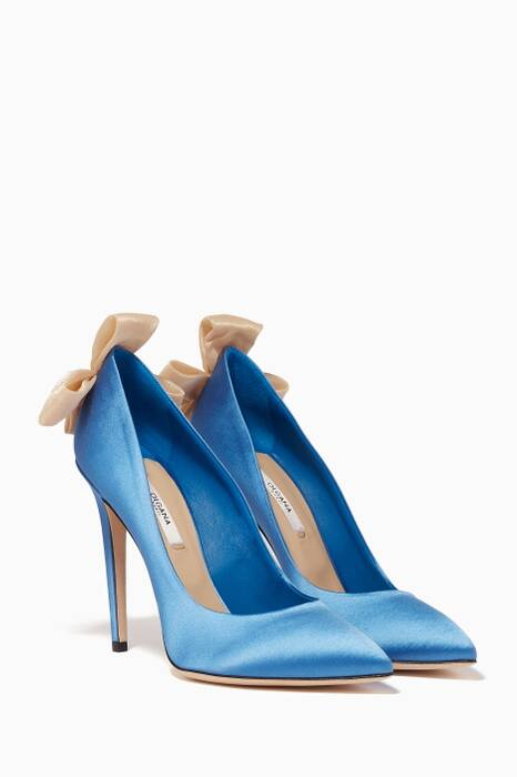 Light-Blue Delicate Satin Bow-Detail Pumps