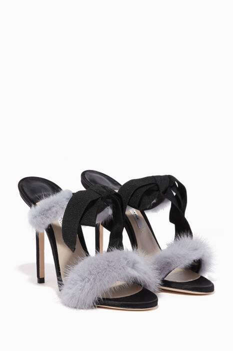 Grey La Decouverte Mink-Trimmed Bow Sandals