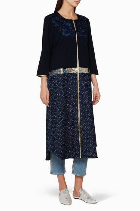 Navy Embroidered Denim-Trimmed Kaftan