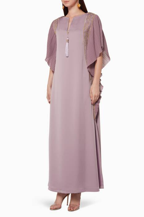 Lilac Pleated Embroidered Kaftan
