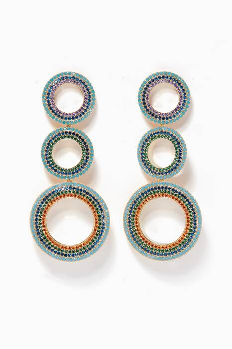 Multi-Coloured Grommets Dangling Pave Earrings