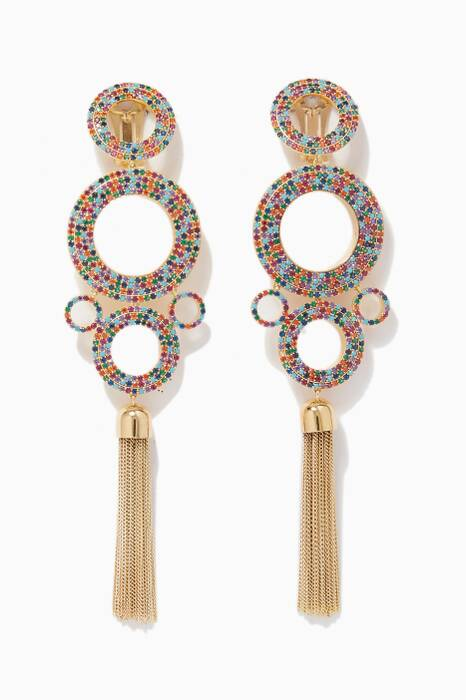Multi-Coloured Grommets Statement Rainbow Earrings