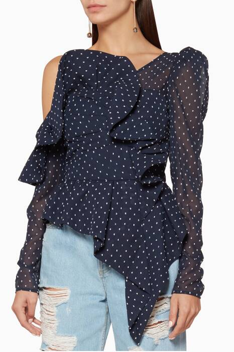 Navy Polka Dot Plumetis Frill Top