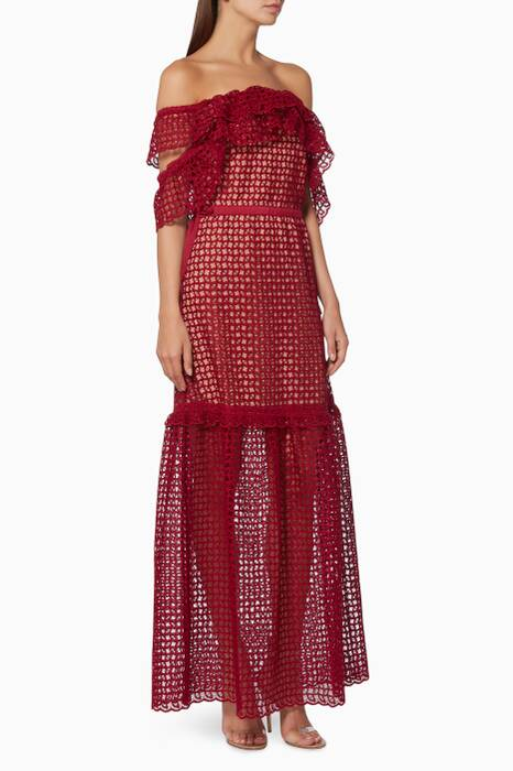Red Off-The-Shoulder Frill Cutwork Dress