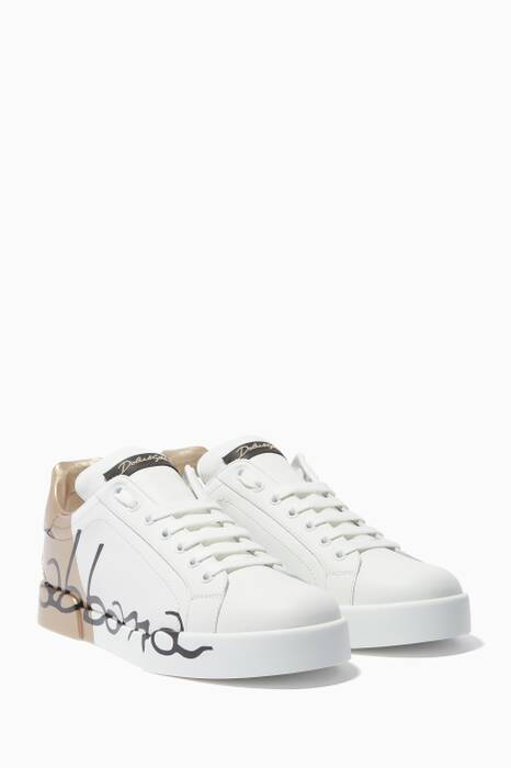 White & Gold Portofino Sneakers