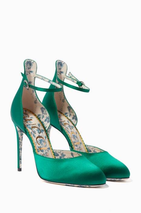 Green Daisy Satin Pumps
