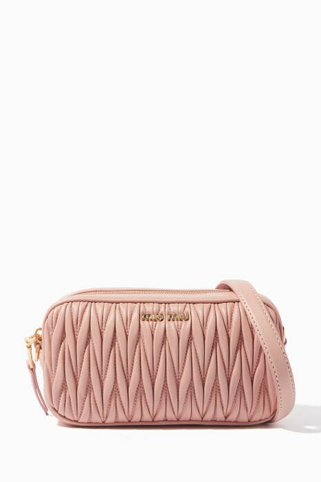 Light-Pink Matelassé-Leather Belt Bag