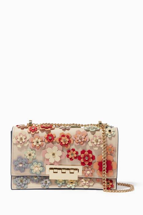 Off-White Floral Earthette Accordion Chain Shoulder Bag