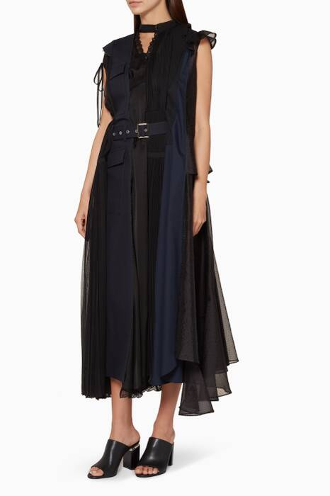 Black Panelled Solid Mix Midi Dress