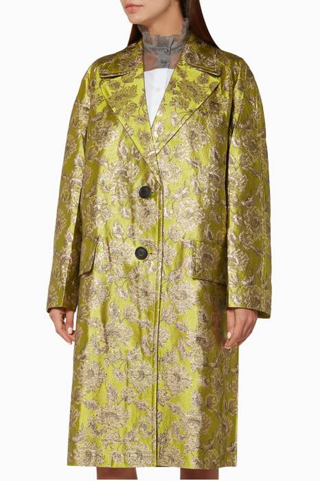Green Floral Brocade Jacket