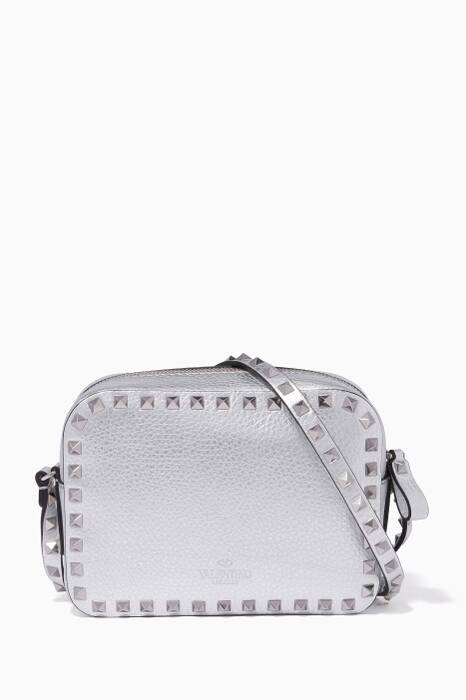 SIlver Camera Rockstud Cross-Body Bag