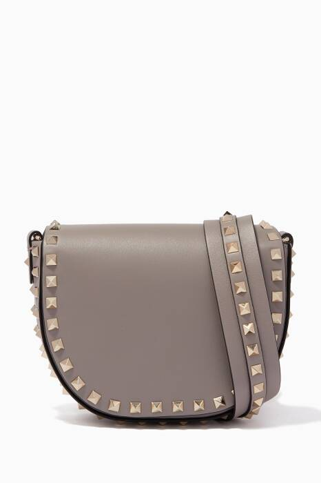 Grey Mini Saddle Cross-Body Bag