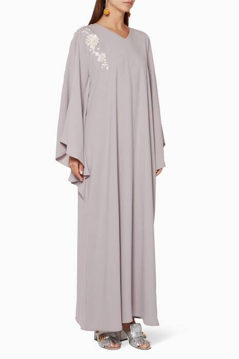 Grey Embellished Kaftan Dress