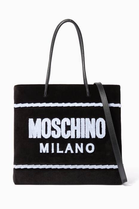 Black Medium Velvet Tote Bag