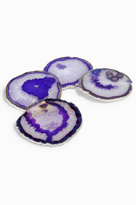 Silver Lumino Eggplant Coasters, Set Of 4