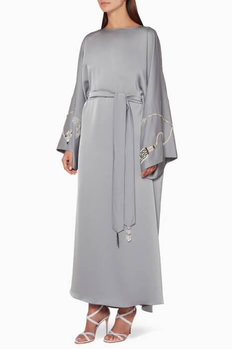 Grey Tassel Embroidered Kaftan