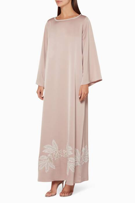 Light-Pink Flower Cut Beaded Kaftan