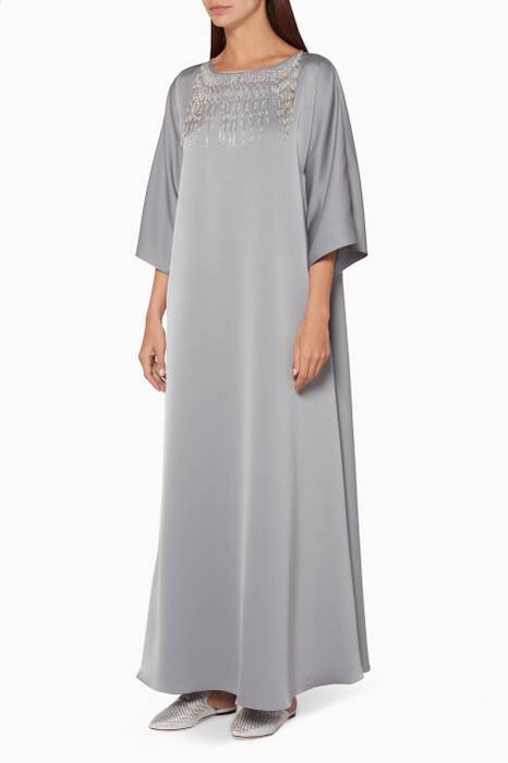 Light-Grey Tasseled Neckline Kaftan
