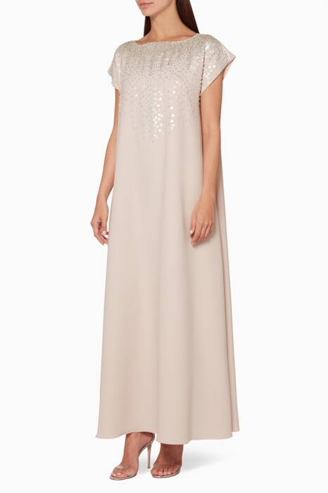 Light-Pink Embellished Front Kaftan