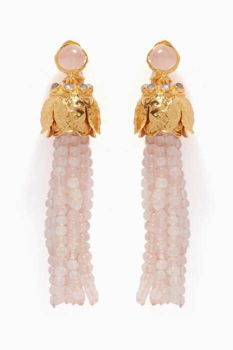 Gold & Rose Quartz Riya Earrings