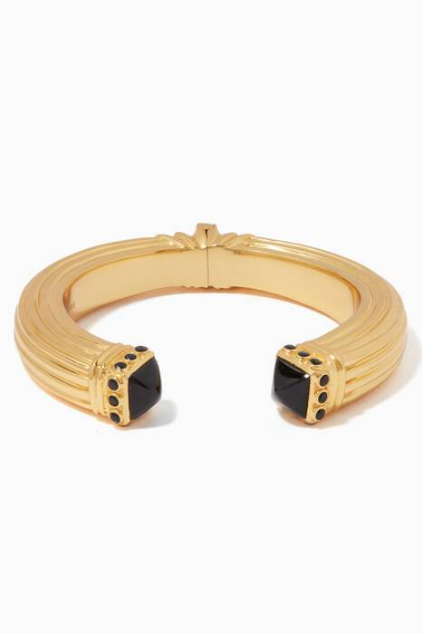 Gold & Black Oynx Cher Bangle