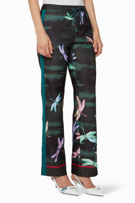 Green Dragonfly-Print Ettore Pants