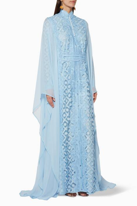 Light-Blue Long-Sleeve Patterned Kaftan