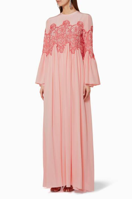 Light-Pink Lace-Panel Gown