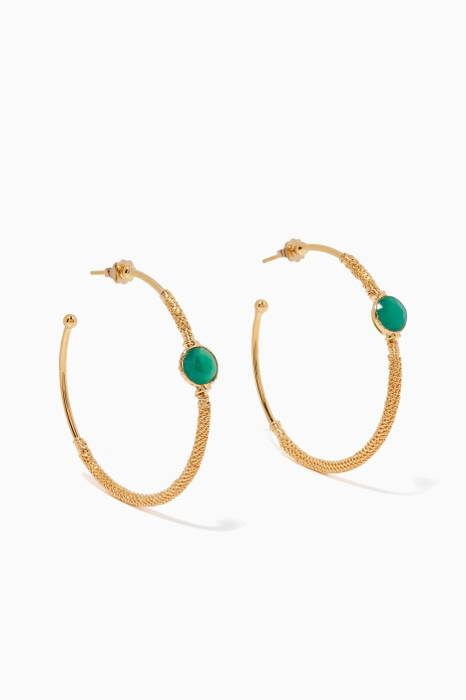 Gold Serti Hoop Earrings