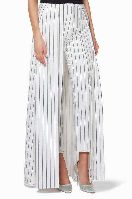 Black & White Striped Panel-Overlay Pants