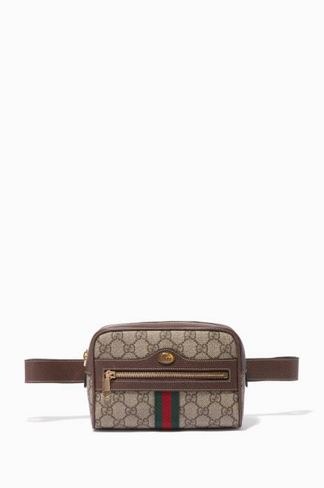 Beige Ophidia GG Supreme Mini Belt Bag
