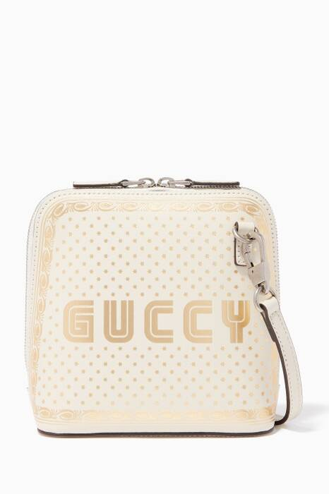 White Mini Guccy Cross-Body Bag