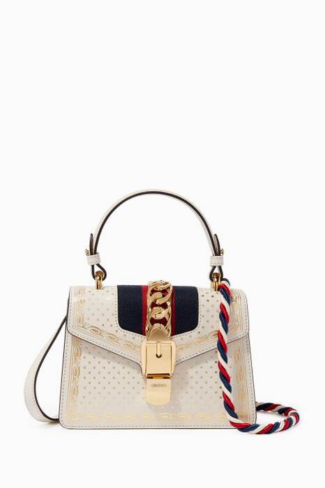 Metallic-Gold & White Mini Sylvie Printed Shoulder Bag