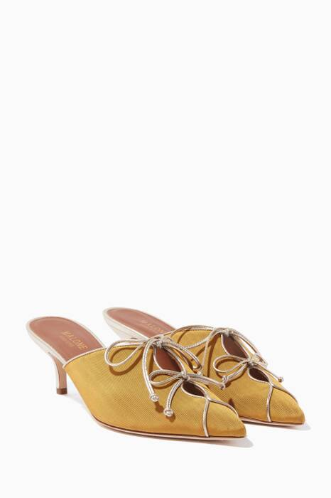Mustard Victoria Point-Toe Mules