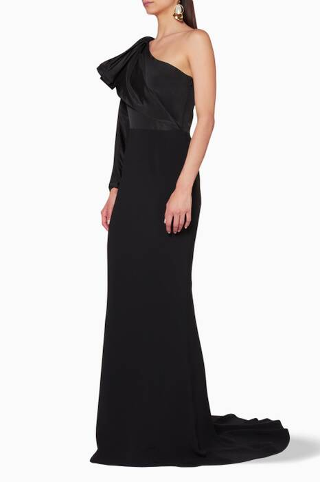 Black Madelynn Off-Shoulder Gown