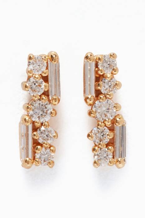 Yellow-Gold & Diamond Post Earrings