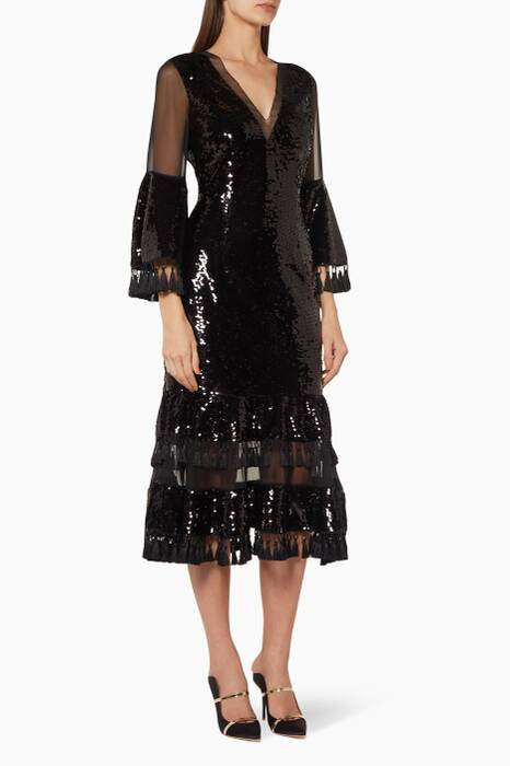 Black Sequin Galata Dress