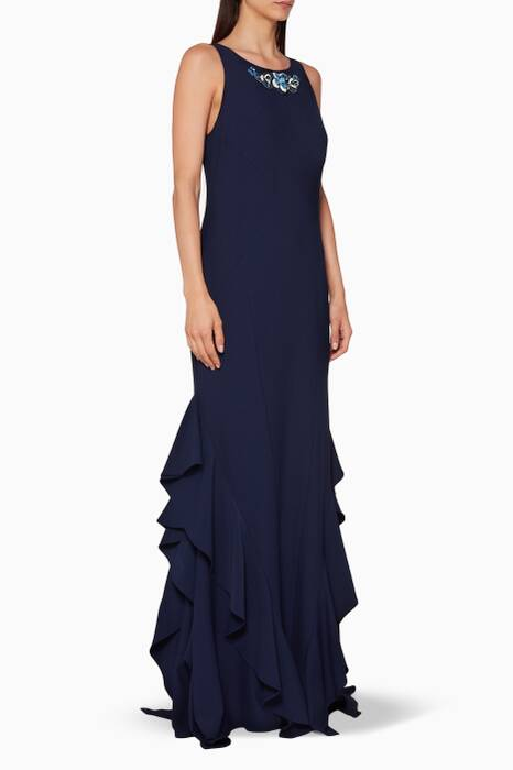 Navy Bead Embellished Gown