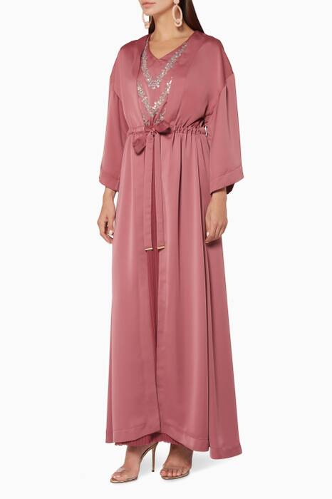 Deco-Rose Embroidered Kimono Pleated Kaftan